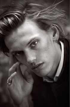 Jamie Campbell Bower  Beautiful simple nose piercing on guys  At www.throwbackannie.com we recommend all men have body piercings  we LOVE! Get 10£ % off all body jewellery with code: PINTEREST