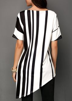 Shop Womens Fashion Tops, Blouses, T Shirts, Knitwear Online Blouse Styles, Blouse Designs, Casual Tops, Casual Shirts, Long Shirt Dress, Black And White Tops, Jacket Pattern, Types Of Sleeves, Stylish Outfits