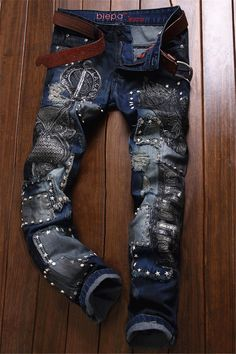 $46.43 Owl Embroidered Rivet Embellished Ripped Jeans