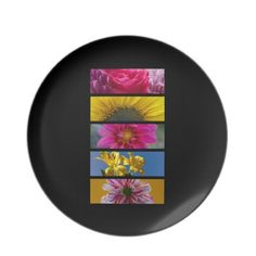 Pink & Yellow Macro Flowers Dinner Plates $28.10