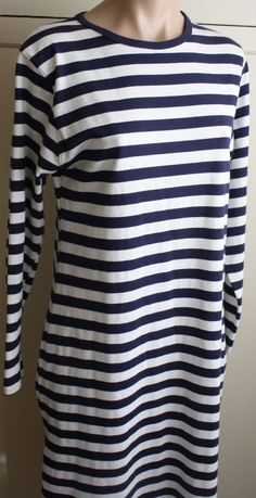 Land's End Crew neck longsleeved Navy Blue & White Sweater Dress Size M…