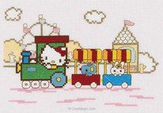 Kit à broder de DMC au point de croix kit hello kitty - kitty dans le train