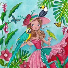 Tropical Bird Love ~ Artist: Caroline Bonne-Muller