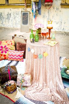 Bridal shower setup with sequin tablecloth | Angie Capri Photography | see more on: http://burnettsboards.com/2014/06/alternative-weddings-week-eclectic-urban-bridal-shower/ #bridalshower