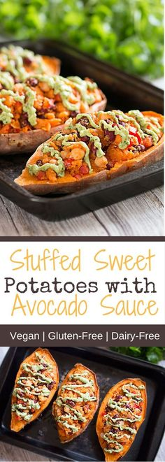 Sweet Potatoes With Avocado Sauce Ditch the good auld potato skins and say hello to stuffed sweet potatoes with avocado sauce. This recipe is incredibly easy to make and tastes absolutely moreish. It is one of those recipes to turn to when you ope Whole Food Recipes, Diet Recipes, Vegetarian Recipes, Cooking Recipes, Healthy Recipes, Recipes Dinner, Vegan Avocado Recipes, Dinner Recipes With Avocado, Healthy Sauces