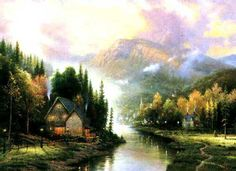 Simpler Times I - 1995 - Thomas Kinkade.  Something I believe very deeply is simplicity and the true foundations of life. My hope is that this painting will remind us of the important things such as the enjoyment of the cycle of the seasons, the satisfaction of work and rest, the security of family, home, and church.   — Thomas Kinkade