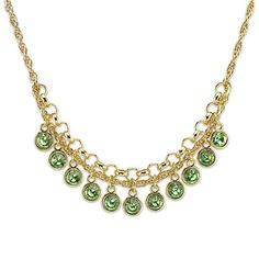This peridot color necklace is so unique and stylish. A lovely glass beaded bib necklace will be the centerpiece of your entire ensemble. It has peridot color crystals in gold-tone round settings that hang from metal chains with an adjustable length for a perfect fit.