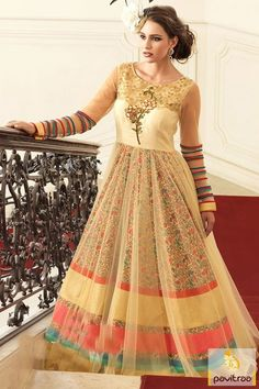 Cream Color Silk Net Formal Prom Gown with Discount Price #longindianstylegownforparty #eveninggownsonlineshoppingcanada #partywearprintedgown #eveninggownsonlineshoppingmumbai More: http://www.pavitraa.in/catalogs/net-silk-indian-printed-gown-for-party/?utm_source=hp&utm_medium=pinterestpost&utm_campaign=30july