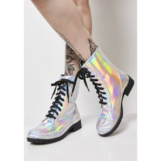 Hologram Combat Boots ($45) ❤ liked on Polyvore featuring shoes, boots, silver holographic, military boots, lace-up boots, lace up combat boots, lacing combat boots and silver shoes