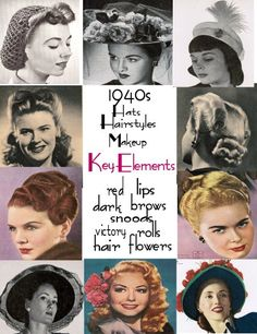 Victory rolls  Longish and wavy hairstyles. Parted to the side.  Red lips and nails.  Natural brow darkened and defined with pencil.  Matte finish pancake makeup, blush.