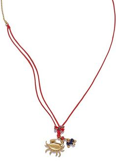 Tory Burch Crab Charm Pendant Thread Necklace