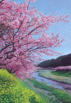 Spring Blossoms Pink Flowers Pastel Drawing - by Mr.Koga  floral art