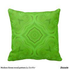 Modern Green wood pattern Throw Pillows