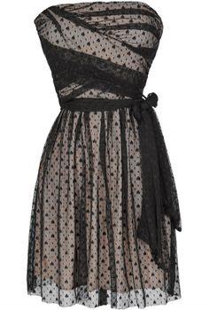 Ink Blot Black and Beige Mesh Lace Dress  www.lilyboutique.com