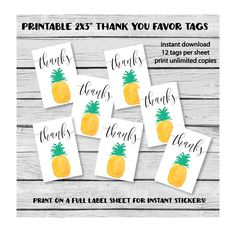 printable favor tags - for a tropical, pineapple themed party!