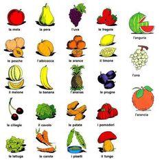 la frutta e la verdura - fruits and vegetables: For more language activities download our app for kids: www.cappuccinoapps.com #italianforkids #appsforkids #kidsapps