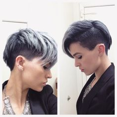 Undercut with  crooked ends and a platinum haircolor