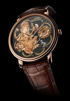 Blancpain Métiers d'Art Villeret Ganesh - Luxois Stylish Watches, Luxury Watches For Men, Fine Watches, Cool Watches, Wrist Watches, Mens Designer Watches, Rose Gold Watches, Jewelry Show, Leather Watch Bands