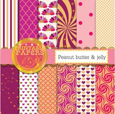 Peanut butter and jelly digital paper.  Hearts by GemmedSnail  https://www.etsy.com/listing/169697343/peanut-butter-and-jelly-digital-paper?ref=shop_home_active_13