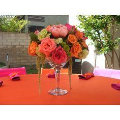 Martini Glass Centerpiece Ideas |Martini Glass Wedding Centerpieces | Martini Glass Floral Arrangements found on Polyvore