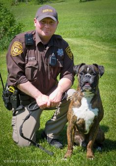 Police dog... Deputy Brandon Stoughtenger of Onalaska, WI, and his German boxer, Sabiye, have been training together since 2011. Sabiye recently became the only German boxer in the world to earn an elite IPO3 ranking.