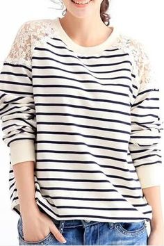 78067bb902 Lace Stripe Sweater Winter Sweaters