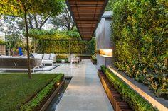 plantas y muebles preciosos en el jardín