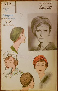 Vtg 1950s 1958 Sally Victor Vogue 9619 Sewing Millinery PATTERN Cloche HAT 22""
