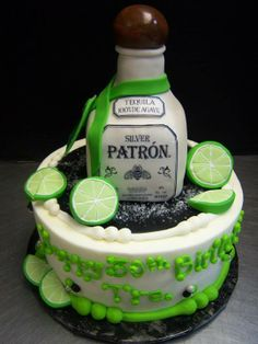 Patron Tequila Cake by Tasty Layers Custom Cakes Tequila Cake, Tequila Recipe, Mojito, Liquor Cake, Poker Cake, 40th Birthday Cakes, Birthday Ideas, Alcohol Cake, Fiesta Cake