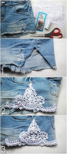 Customização | bermuda | jeans | Renda | guipir