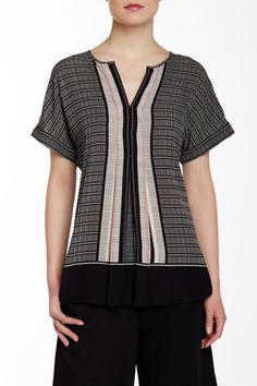 Short Sleeve Woven Pleat Front Blouse