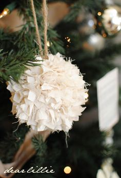 Rustic themed Christmas tree with these, burlap or burlap ball ornaments, white lights, and red or silver ornaments????