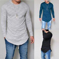 5f0522ffccf Men s Fashion Pure Color T-shirt Casual Long Sleeve Round Collar Tops   MensT-