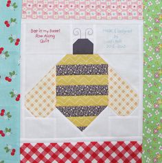 The Bee in my Bonnet Row Along...Quilt Label and a Bee in my Bonnet Bumble Bee Tutorial!!!...
