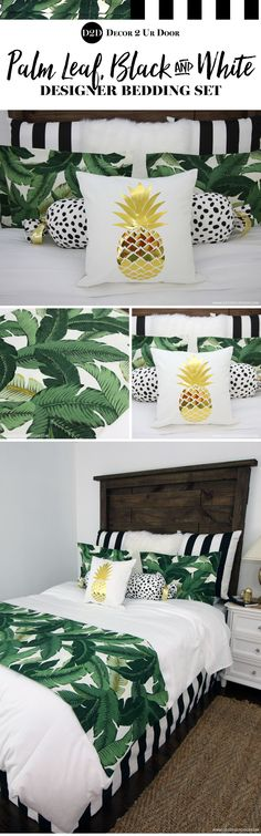 Tropical bedding and decor. Leaf it to us to create the perfect tropical inspired bedding set…with a twist. Our palm leaf print pairs perfectly with bold and beautiful black and white stripe, Dalmatian print, and gold metallic. This set is timeless & trendy all in one.