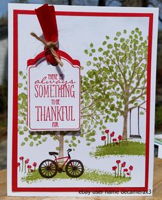 "Stampin Up' Thankful greeting card made from the Sheltering Tree stamp set and the ""You Brighten My Day"" stamp set from the Stampin' Up 2015 Sale-A-Bration sale. Handmade By Quinn. For sale on ebay at user name decamerax3"
