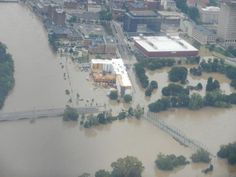 Confluence of the Chenango and Susquehanna Rivers, Downtown Binghamton, NY..2011 the flood