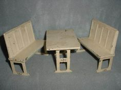 Vintage-Curtis-C-I-Table-w-Two-Benches-for-Dollhouse-by-Arcade-Toys