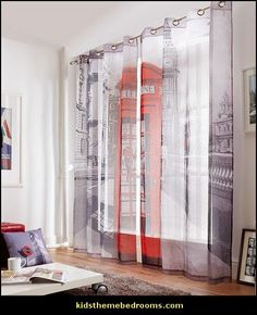LONDON STREET PHONE BOX 58X90 RING TOP VOILE CURTAINS