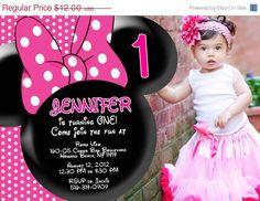 SALE Minnie Mouse Birthday Invitation on Etsy, $10.50