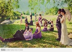 """Wedding Portrait inspired by """"Sunday in the Park with George""""  I like the color palate.  Very fun."""