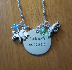 Lion King Inspired Necklace. Hakuna Matata. Silver colored, Swarovski crystals, for women or girls