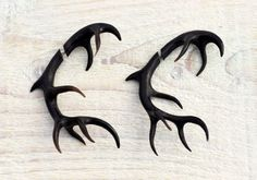 Antler Deer Fake Gauges Earrings Black Horn by organicethnic, $54.00