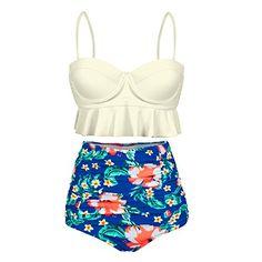 b9cfb5a4eacecc Dreaweet Vintage Women s Floral High Waist Ruffle Two Pieces Swimsuit  Bikini Set    amazon.