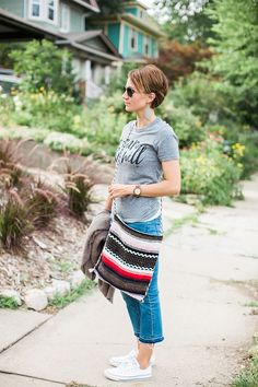 leather earrings, boot cut cropped denim, cardigan, converse, graphic tee