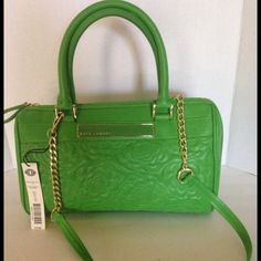 """NWT-KATE LANDRY HANDBAG """"QUILTED"""" STITCHING A brand new handbag, never used, perfect condition, tags attached.  100% authentic.  A bright summery green synthetic leather with gold tone hardware/chain.  Handle drop is 6"""", shoulder strap has 18"""" drop.  Bag length is 13.5"""".  Height is 8.5""""  and width is 5"""".  I will discount with bundles.  I do NOT trade or use PayPal, thank you for not asking! Kate Landry Bags"""