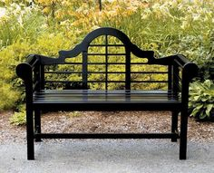 This classic bench gets a new Wow factor. Beautifully proportioned and detailed slats stand out against any background. This classic lutyens bench has a weather resistant black polyurethane finish.The bench is made from sustainable harvested wood that has been certified by The Forest Stewardship Council (FSC). The bench measures 54