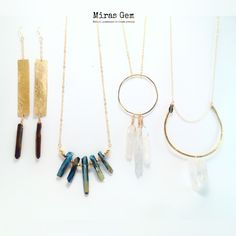 www.mirasgem.com  Brass and quartz earrings and necklace. All jewelry is one of a kind.