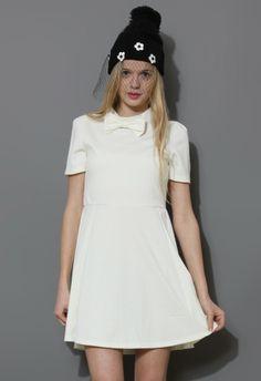 Bowknot Skater Dress in White