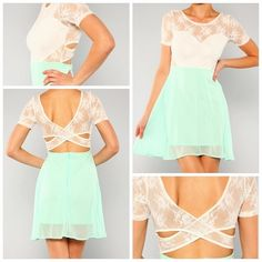 The Lila is a mint and white, lace and chiffon sweetheart dress featuring a touch of charm with it's open cross-back detail. The perfect piece for a spring reception paired with turquoise studs and nude heels.     Size Chart:   Small - 4   Medium - 6   Large - 8